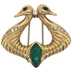 Yellow Gold with Malachite and Diamonds Hermès Dove Pin