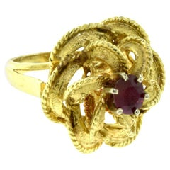 Yellow Gold with Ruby Center Stone Tall Textured Flower Ring