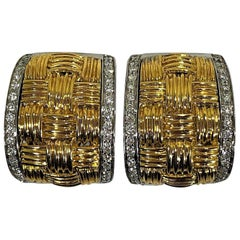 Yellow Gold Woven Roberto Coin Earrings with Diamond Edges Set in White Gold