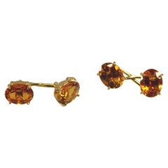 Yellow Gold 18k ,Yellow Citrine Quartz Cufflinks
