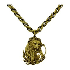 Yellow Gold Zodiac Leo Pendant and Chain Necklace