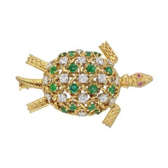 Yellow Gold, Emerald and Diamond Turtle Pin