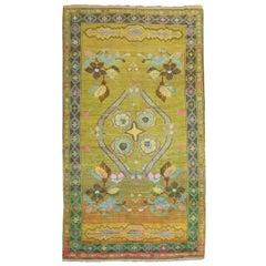 Yellow Green 20th Century Whimsical Turkish Anatolian Rug
