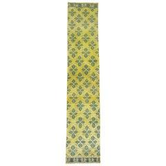Yellow Green 20th Century Wool Handmade Turkish Konya Runner