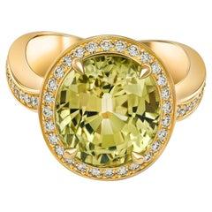 Yellow-Green Chrysoberyl Ring, 18K Yellow Gold and Diamonds Ring