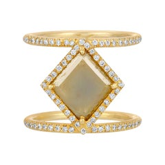 Yellow Green Diamond Slice Double Band Halo Ring in 18k Matte Yellow Gold