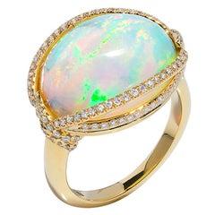 Goshwara Opal Cabochon And Diamond Ring
