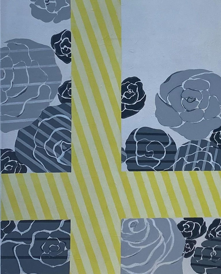 Emirian Yellow Grey Silver Flowe Painting Geometric Modern Acrylic on Canvas by Cecilia  For Sale