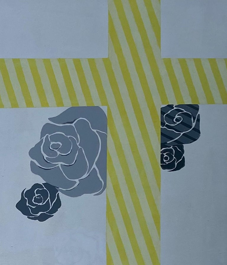 Painted Yellow Grey Silver Flowe Painting Geometric Modern Acrylic on Canvas by Cecilia  For Sale
