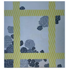 Yellow Grey Silver Flowe Painting Geometric Modern Acrylic on Canvas by Cecilia