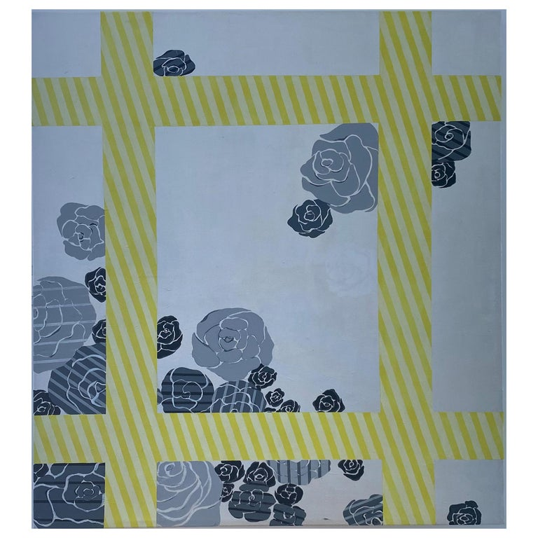 Yellow Grey Silver Flowe Painting Geometric Modern Acrylic on Canvas by Cecilia  For Sale