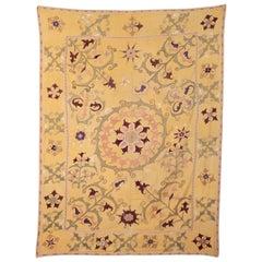 Yellow Ground Nim Suzani from Bukhara, Uzbekistan, Mid-20th Century