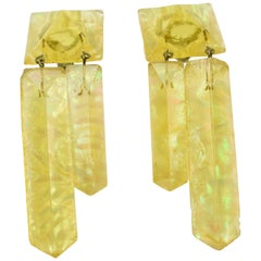 Yellow Ice Cube Lucite Dangle Clip Earrings
