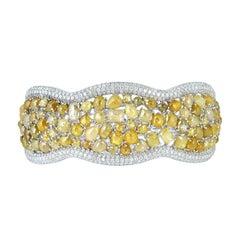 Yellow Ice Diamond and White Diamond Bangle Set in 18K White Gold