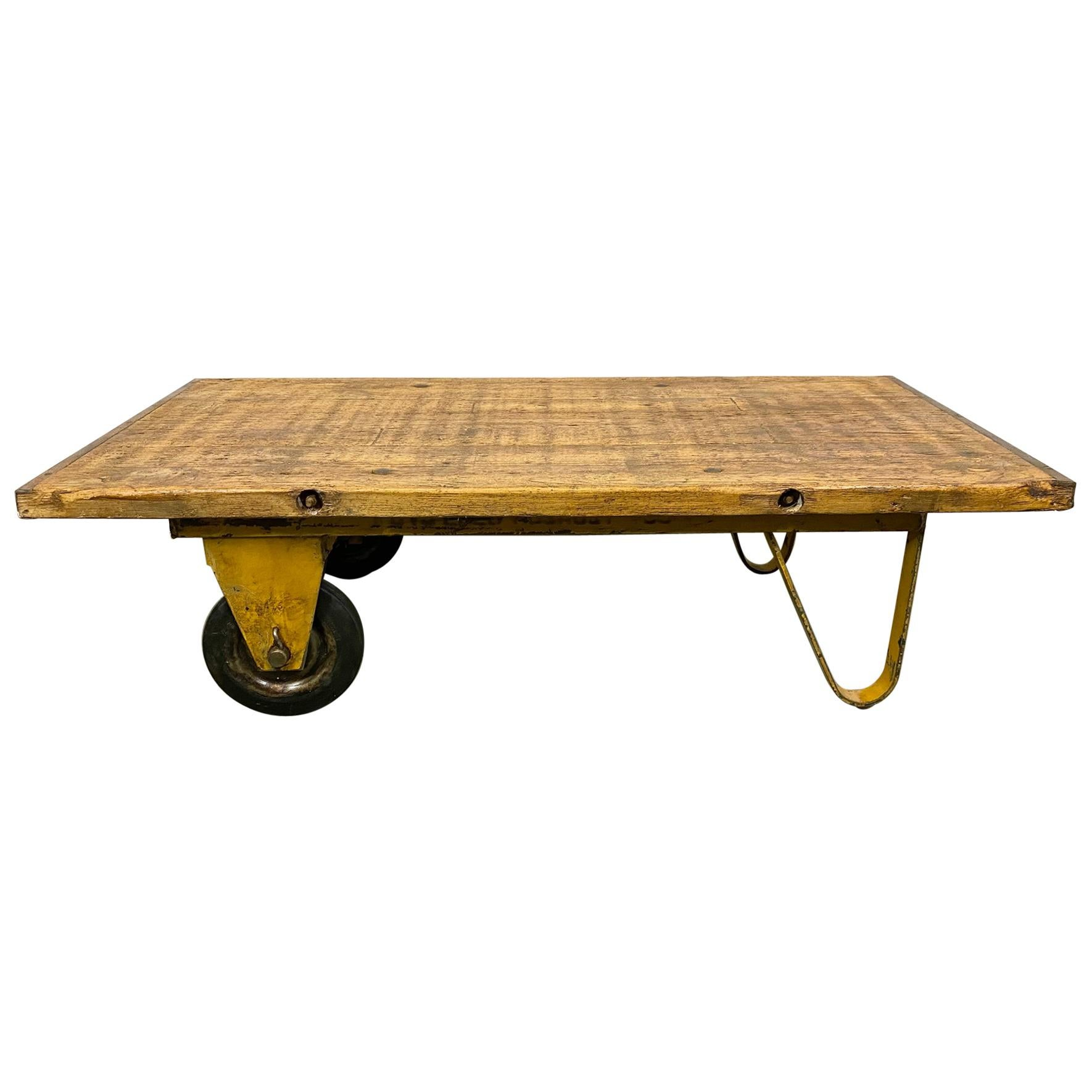 Yellow Industrial Coffee Table Cart, 1960s