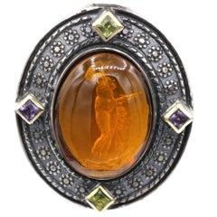 Yellow Italian Murano Glass Pendant Glass Cameo of Venus and Cupid Godess