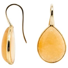 Yellow Jade on Pink Gold 18 Karat Drop Earrings