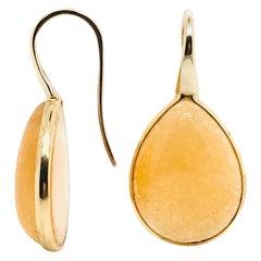 Yellow Jade on Pink Gold 18 Karat Drop Earrings