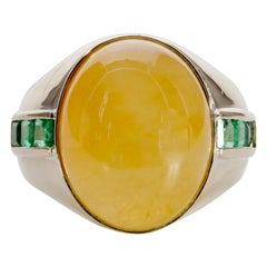 Yellow Jade Ring with Emeralds Certified Untreated