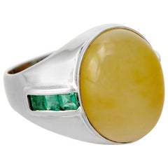 Yellow Jade Ring with Emeralds GIA Certified