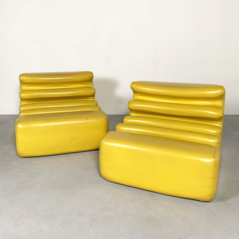 Yellow Karelia Lounge Chairs by Liisi Beckmann for Zanotta, 1970s For Sale 3