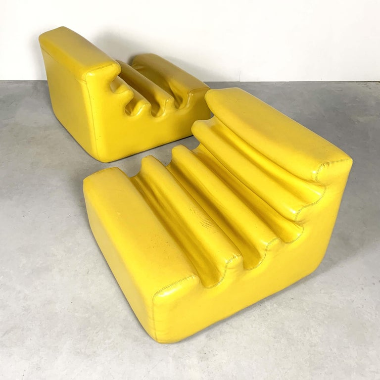 Space Age Yellow Karelia Lounge Chairs by Liisi Beckmann for Zanotta, 1970s For Sale