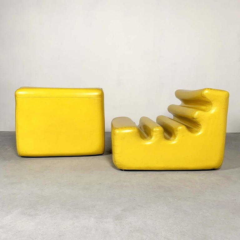 Yellow Karelia Lounge Chairs by Liisi Beckmann for Zanotta, 1970s For Sale 1
