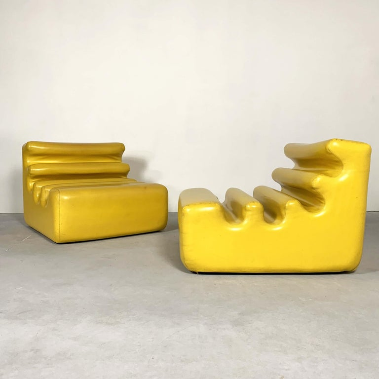 Yellow Karelia Lounge Chairs by Liisi Beckmann for Zanotta, 1970s For Sale 2