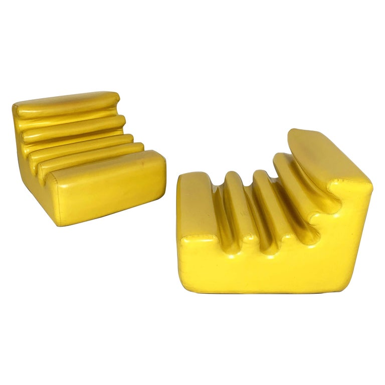 Yellow Karelia Lounge Chairs by Liisi Beckmann for Zanotta, 1970s For Sale