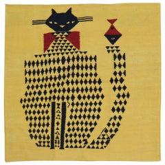 Yellow Kitten Face Vintage Persian Flat-Weave