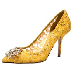 Yellow Lace Bellucci Crystal Embellished Pointed Toe Pumps Size 38