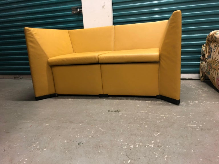 Yellow Leather Loveseat Two-Seat Sofa Osvaldo Borsani Italian Modern.  Rare leather loveseat designed by the Centro Progetti lead by Osvaldo Borsani for the famed Tecno Company (SPA) Italy. Tecno was founded in in 1952. Dimensions: 54
