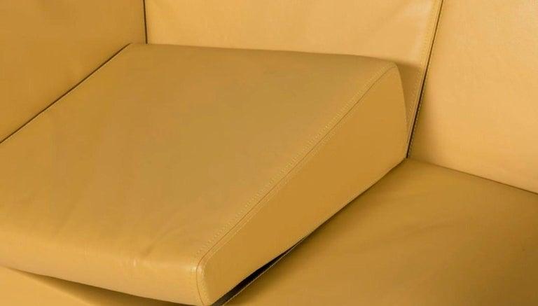 Post-Modern Yellow Leather Loveseat Two-Seat Sofa Osvaldo Borsani Italian Modern For Sale
