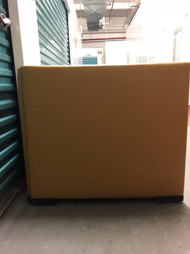 Yellow Leather Loveseat Two-Seat Sofa Osvaldo Borsani Italian Modern In Fair Condition For Sale In Brooklyn, NY