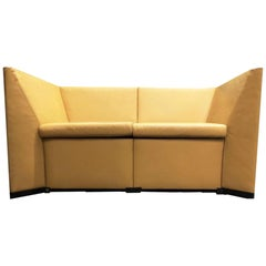 Yellow Leather Loveseat Two-Seater Sofa by Osvaldo Borsani for Tecno Italy