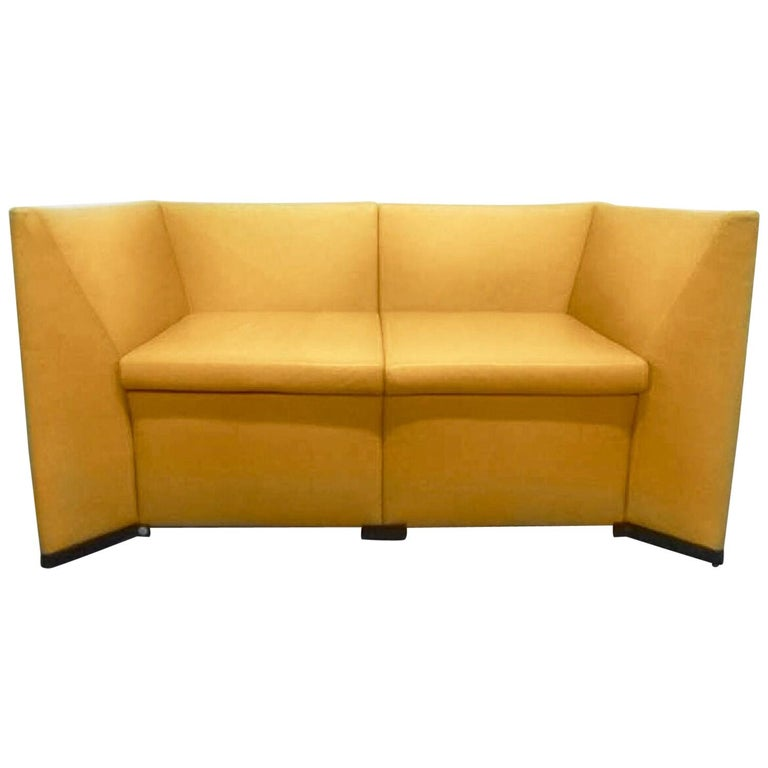 Yellow Leather Loveseat Two-Seat Sofa Osvaldo Borsani Italian Modern For Sale