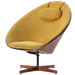 Yellow Linen Lounge Chair by George Mulhauser