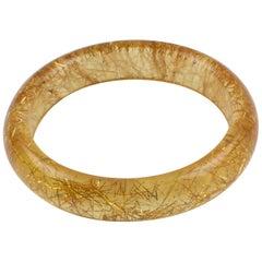 Yellow Lucite Bracelet Bangle Gold Metallic Thread