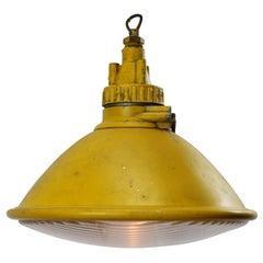 Yellow Metal Airport Runway Vintage Industrial Clear Glass Pendant Lights