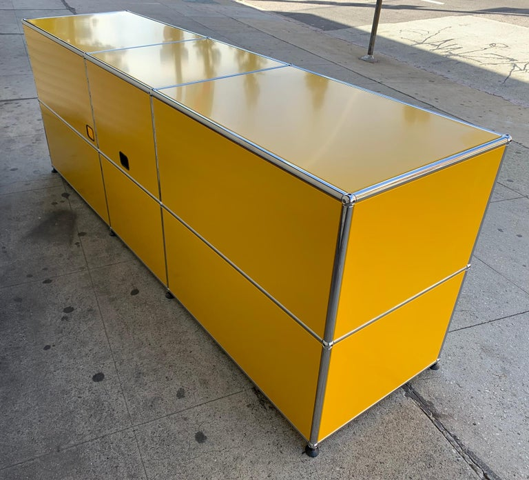 Yellow Metal Credenza by USM Haller For Sale 7