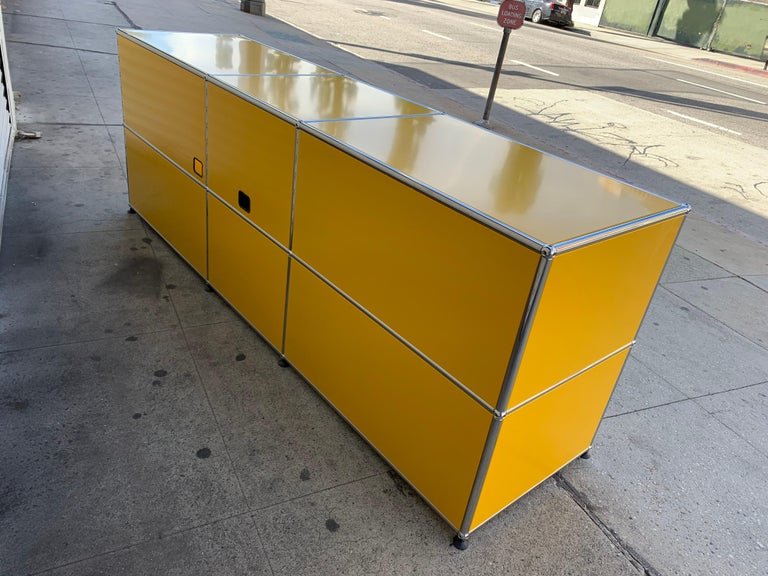 Yellow Metal Credenza by USM Haller For Sale 8