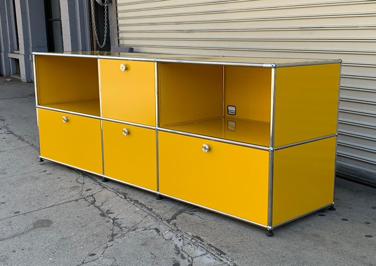 Swiss Yellow Metal Credenza by USM Haller For Sale