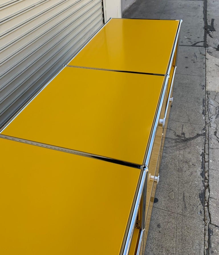 Contemporary Yellow Metal Credenza by USM Haller For Sale