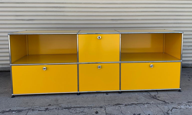 Yellow Metal Credenza by USM Haller For Sale 1