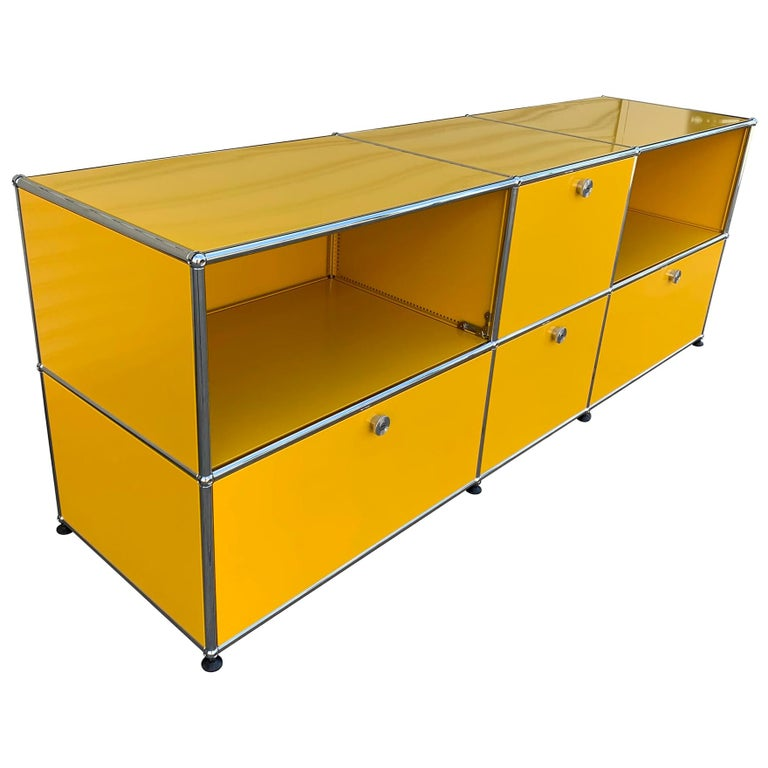 Yellow Metal Credenza by USM Haller For Sale