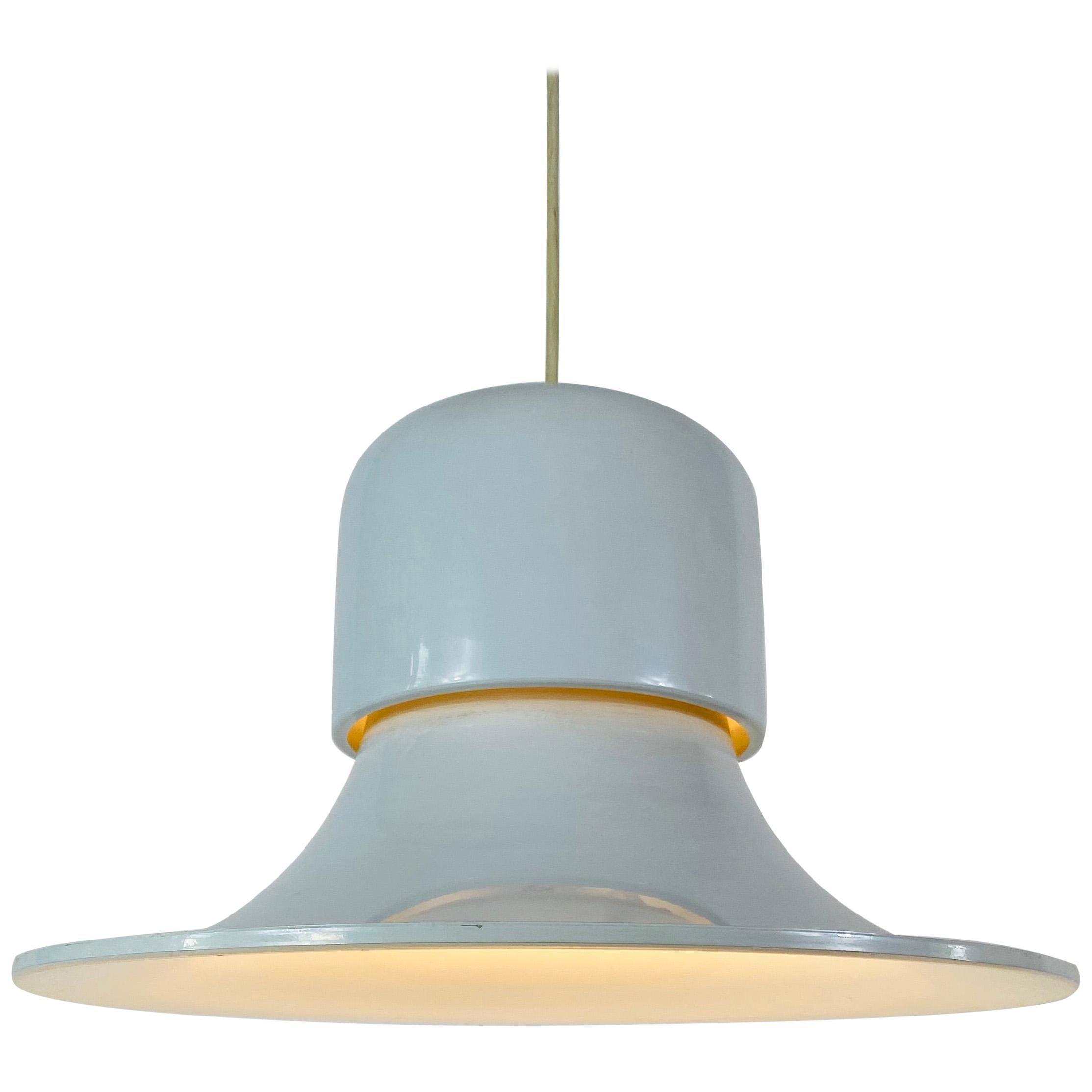 White Metal Hanging Lamp by Joe Colombo Stilnovo Style, Italy, 1950s