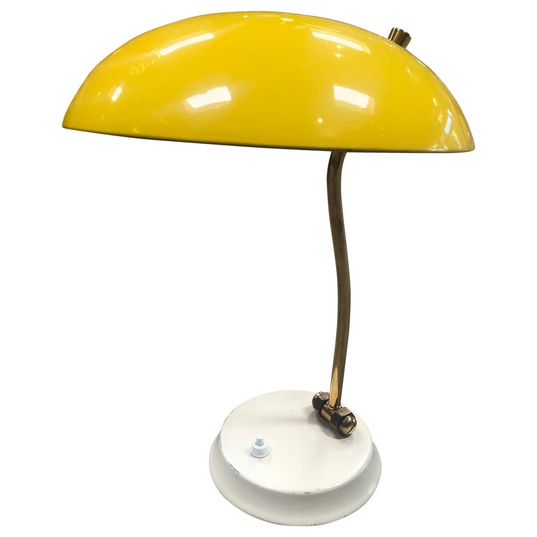 Yellow Midcentury Table Lamp, Italy, 1950s For Sale