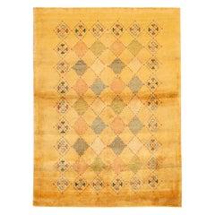 Yellow Modern Gabbeh Persian Handmade Wool Rug