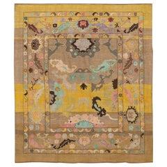Yellow Modern Revival Handmade Wool Rug