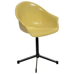 Yellow Molded Fiberglass Swivel Shell Chair
